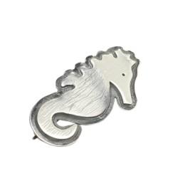 925 Ayar Gümüş Deniz Atı Broş - Thumbnail