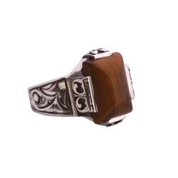925 Ayar Gümüş Dikdörtgen Kaplangözü Taşlı Kalemli Erkek Yüzük - Thumbnail