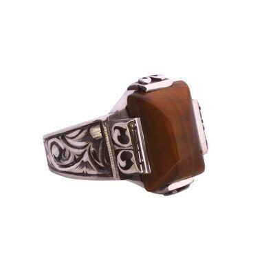 925 Ayar Gümüş Dikdörtgen Kaplangözü Taşlı Kalemli Erkek Yüzük