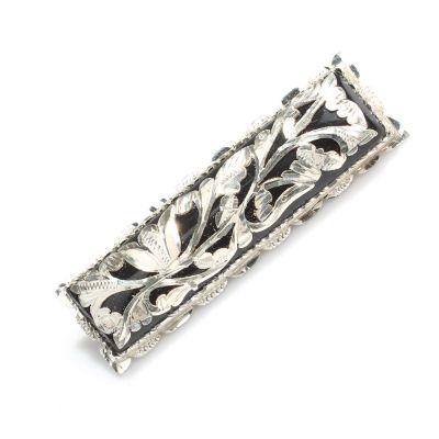 925 Ayar Gümüş Dikdörtgen Model Oltu Taşı Broş