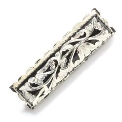 925 Ayar Gümüş Dikdörtgen Model Oltu Taşı Broş - Thumbnail