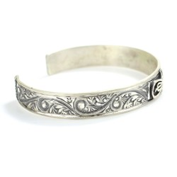 925 Ayar Gümüş El Kalemi İşlemeli Tuğralı Bilezik - Thumbnail