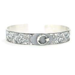 925 Ayar Gümüş El Kalemli Ay Yıldızlı Bilezik - Thumbnail