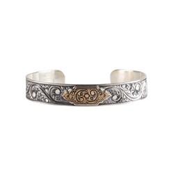 925 Ayar Gümüş Elişi Kalemli Bronz Kaşlı Erkek Bileziği - Thumbnail