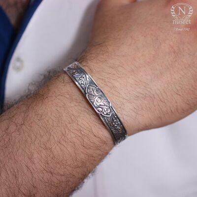 925 Ayar Gümüş Elişi Kalemli Kaşlı Bilezik
