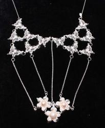 925 Ayar Gümüş Çiçekli ve Kelebek Modeli Telkari Kolye - Thumbnail