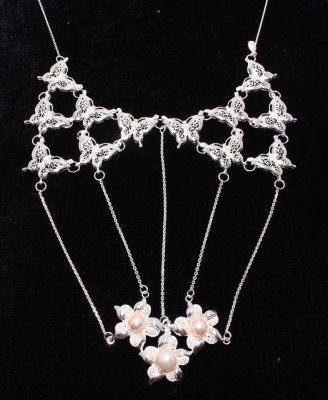 925 Ayar Gümüş Çiçekli ve Kelebek Modeli Telkari Kolye