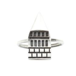925 Ayar Gümüş Galata Kulesi Yüzük - Thumbnail
