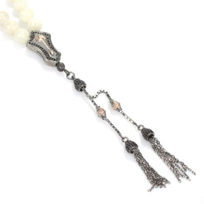 925 Ayar Gümüş Gerçek Aytaşı Taşlı Küre Kesim Tasarım Tesbih