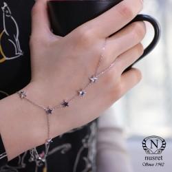 925 Ayar Gümüş Gökyüzü Yıldızlar Şahmeran Bileklik - Thumbnail