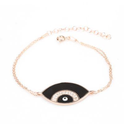 925 Ayar Gümüş Göz Modeli Siyah Bileklik