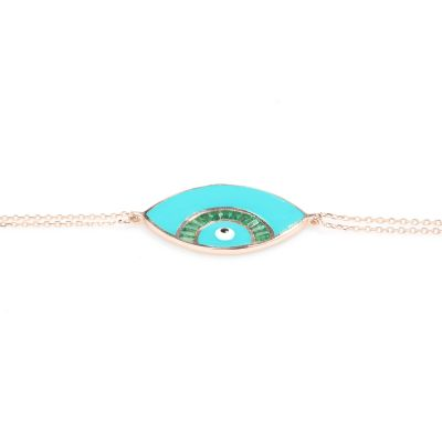 925 Ayar Gümüş Göz Modeli Yeşil Bileklik