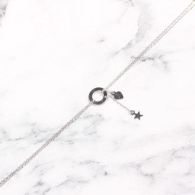 925 Ayar Gümüş Halka & Kalp & Yıldız Bileklik