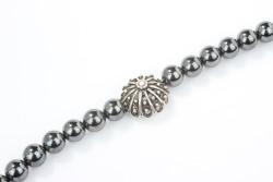 925 Ayar Gümüş Hematit Doğal Taşlı Erkek Bilekliği - Thumbnail