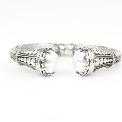 925 Ayar Gümüş İnci Taşlı Antik Tasarım Bileklik - Thumbnail