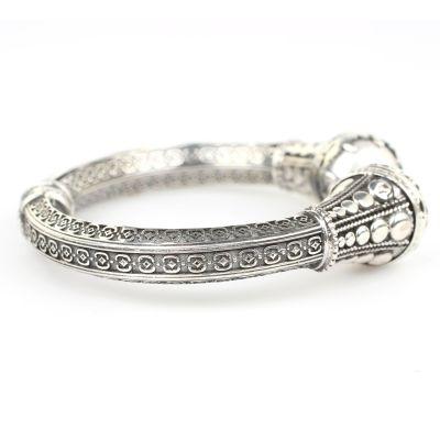 925 Ayar Gümüş İnci Taşlı Antik Tasarım Bileklik