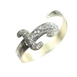 925 Ayar Gümüş İşlemeli Kılıç Bilezik - Thumbnail