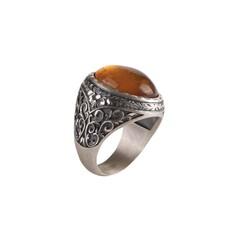 925 Ayar Gümüş Kalemkar Sıkma Kehribar Taşlı Erkek Yüzüğü - Thumbnail