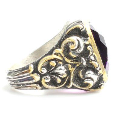 925 Ayar Gümüş Kare Ametist Taşlı Erkek Yüzüğü
