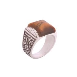 925 Ayar Gümüş Kare Kaplangözü Taşlı Kalemli Erkek Yüzük - Thumbnail