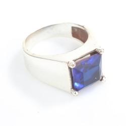 925 Ayar Gümüş Kare Mavi Taşlı Tırnaklı Klasik Erkek Yüzük - Thumbnail