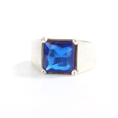 925 Ayar Gümüş Kare Mavi Taşlı Tırnaklı Klasik Erkek Yüzük