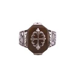 925 Ayar Gümüş Kehribar Taşlı Kalemkar Model Erkek Yüzük - Thumbnail