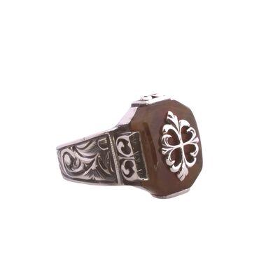 925 Ayar Gümüş Kehribar Taşlı Kalemkar Model Erkek Yüzük