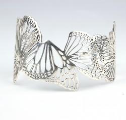 925 Ayar Gümüş Kelebekli Bilezik - Thumbnail