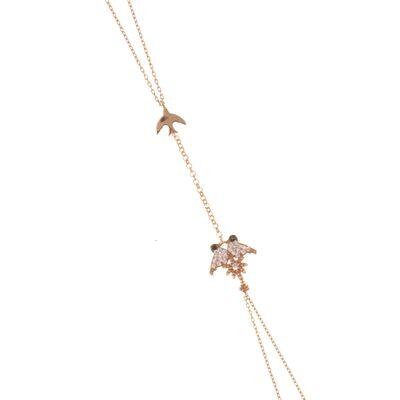 925 Ayar Gümüş Kırlangıç Şahmeran, Pembe