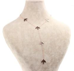 925 Ayar Gümüş Kırlangıç'lı Y Kolye - Thumbnail