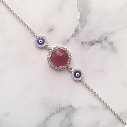 925 Ayar Gümüş Kırmızı Taşlı & Mineli Nazar Boncuklu Bileklik - Thumbnail