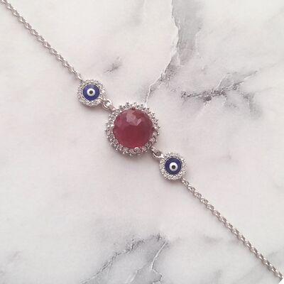 925 Ayar Gümüş Kırmızı Taşlı & Mineli Nazar Boncuklu Bileklik
