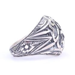 925 Ayar Gümüş Kubbe Modeli El Kalemli Özel Tasarım Erkek Yüzüğü - Thumbnail
