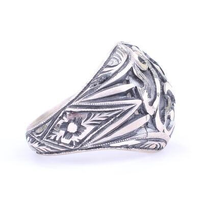 925 Ayar Gümüş Kubbe Modeli El Kalemli Özel Tasarım Erkek Yüzüğü