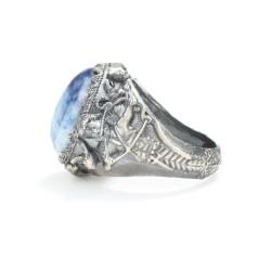 925 Ayar Gümüş Lapis Taşlı Deniz Tanrısı Zeus Antik Erkek Yüzüğü - Thumbnail