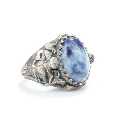 925 Ayar Gümüş Lapis Taşlı Deniz Tanrısı Zeus Antik Erkek Yüzüğü