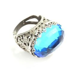 925 Ayar Gümüş Mavi Sentetik Safir Taşlı Yüzük - Thumbnail