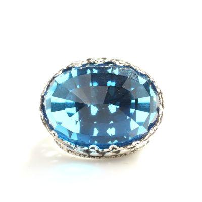 925 Ayar Gümüş Mavi Sentetik Safir Taşlı Yüzük