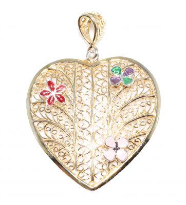 925 Ayar Gümüş Mineli Telkari Kalp Modeli Kolye Ucu, Sarı