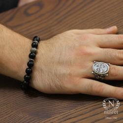 925 Ayar Gümüş Oniks Doğal Taşlı Erkek Bilekliği - Thumbnail