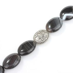 925 Ayar Gümüş Oniks Doğal Taşlı Kilitli Erkek Bilekliği - Thumbnail
