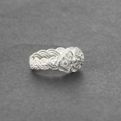 925 Ayar Gümüş Örgü Kollu Kaşlı Yüzük - Thumbnail