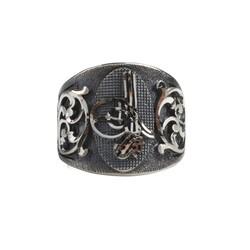 925 Ayar Gümüş Osmanlı Tuğrası Kalemkar Model Erkek Yüzük - Thumbnail