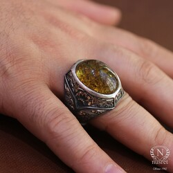 925 Ayar Gümüş Oval Damarlı Kehribar Taşlı Büyük Erkek Yüzüğü - Thumbnail