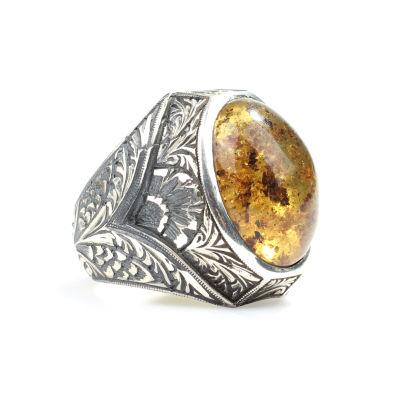 925 Ayar Gümüş Oval Damarlı Kehribar Taşlı Büyük Erkek Yüzüğü