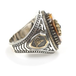 925 Ayar Gümüş Oval Kaplangözü Taşlı Erkek Yüzüğü - Thumbnail