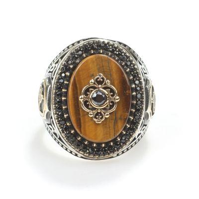 925 Ayar Gümüş Oval Kaplangözü Taşlı Erkek Yüzüğü