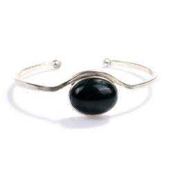 925 Ayar Gümüş Oval Taş Yuvalı Yeşil Akik Taşlı Bilezik - Thumbnail