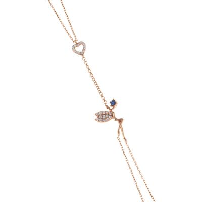 925 Ayar Gümüş Kalpli Peri Şahmeran, Pembe